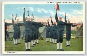 Great Lakes Illinois~US Naval Training Station~Recruits @ Signal Drill~1920s