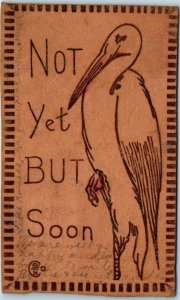 Vintage LEATHER Greetings Postcard (Stork) Not Yet But Soon Birth 1907 Cancel