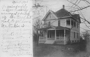 Dows Iowa (?)~House in Country Setting~1908 RPPC Postcard
