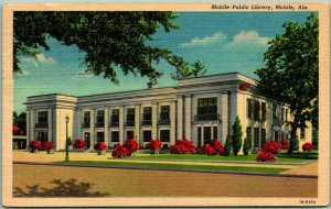Mobile, Alabama Postcard MOBILE PUBLIC LIBRARY Street View Curteich Linen - 1955