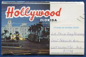 Hollywood Florida fl Yacht Basin Little Flower Church postcard folder