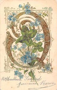 Meilleure Souhaits forget-me-not flowers fleurs Souvenir 1904