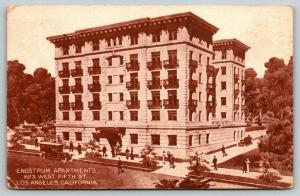Los Angeles California~Engstrum Apartments~623 West Fifth Street~1915 Postcard