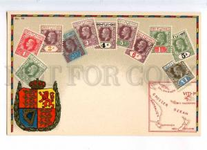 231943 FIJI Coat of arms STAMPS MAP Vintage Zieher postcard