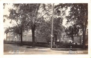 Flat Rock Michigan~Fire Hydrant on Corner~High School Campus~Postcard RPPC 1948