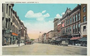 LOCKPORT , New York , 1900-10s ; Main Street, looking West, Store Fronts