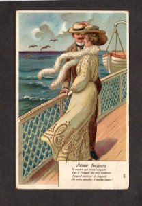 Lovers on Cruise Ship Boat Amour Toujours Lovers Always French Embossed Postcard
