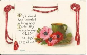 Red Rose and Pink Wild Rose and Old Fashioned Water Pitcher Decorative Red Satin
