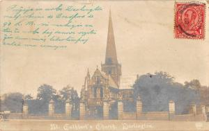 Darlington England St Cuthberts Church Real Photo Antique Postcard J40601