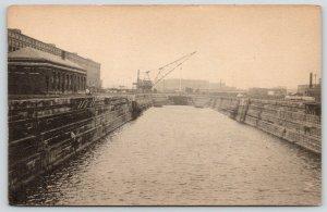 Boston Massachusetts~Ship & Sail~Save A Day~Drydock~Bldg w/9 Arch Windows~Crane~