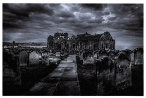 Postcard, Gothic, Angry Sky Over St. Mary's Church, Whitby, North Yorkshire 6R