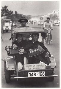 Monks In Vietnam Cambodia Vietnamese Transport Air France Comic Photo Postcard