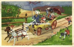 Dressed Cats, A ride in the Dog Cart (1962) Artist Signed Paulsen