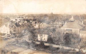Onowa Iowa~Birdseye View of Church~Homes~Schoolhouse~RPPC c1910 (As Is)