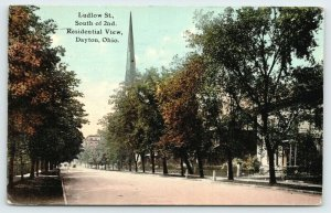Dayton Ohio~Ludlow Street South of 2nd~Homes & Church Steeple~1911 Postcard