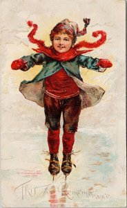 'This For Remembrance' Child Ice Skating McLoughlin Bros Postcard F99 *as is
