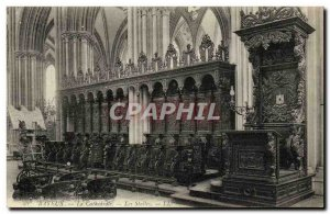 Old Postcard Bayeux Cathedral The Stalls