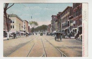 P2080, 1907 postcard trolly & tracks horses & wagons elm street manchester NH