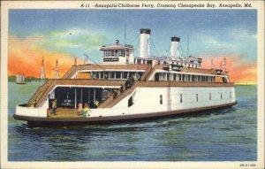 Annapolis Claiborne Ferry Chesapeake Bay MD Linen Postcard