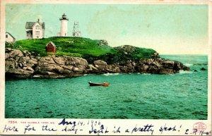 Vtg Postcard York Maine ME 1906 UDB Nubble Lighthouse Detroit Photographic Co