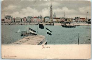 Vintage Antwerp BELGIUM Postcard ANVERS Waterfront Panorama View c1900s Unused