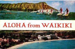 Hawaii Waikiki Aloha Showing The Beach and Surfers 1958