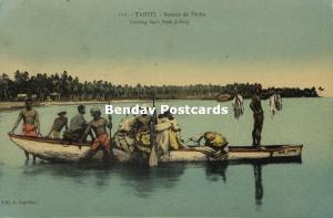 french polynesia, TAHITI, Native Tahitian Males returning from Fishing (1920s)