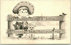 1912 Artist-Signed WALL Postcard Little Cowboy / Dog I'm a Little Lonely Lad