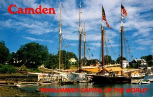 Maine Camden Harbor Scene Windjammers Angelique Mary Day and Stephen Tabor