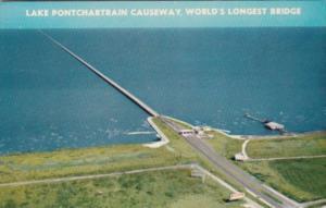 Louisiana New Orleans Lake Pontchartrain Causeway World's Longest Bridge 1964