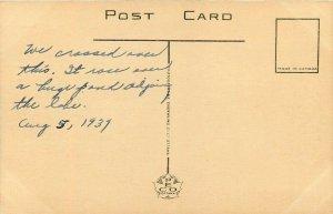Hamilton Beach Canada~On Road Through Bascule Bridge~Lighthouse~1939 Postcard