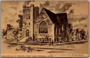 Wichita, Kansas Postcard TRINITY M.E. CHURCH, West Side 1913 KS Cancel