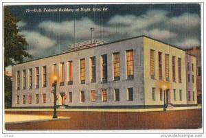 US Federal Post Office at night, Erie Pennsylvania 30s- 40s