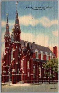 1940s Birmingham, Alabama Postcard St. Paul's Catholic Church Street View Linen