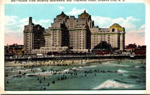 New Jersey Atlantic City Ocean View Showing Boardwalk and Traymore Hotel