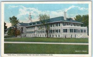 FARIBAULT, Minnesota  MN ~ STATE SCHOOL for the DEAF~TATE HALL  c1920s Postcard