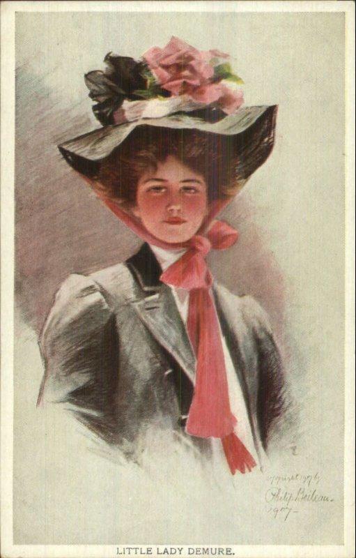 Philip Boileau - Beautiful Woman Red Ribbon on Hat LITTLE LADY DEMURE Postcard