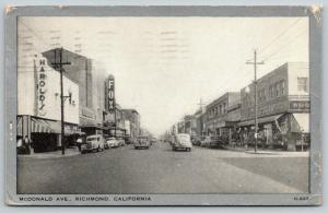 Richmond CA~McDonald Avenue~Fox Theatre~Woolworth Store~1949 Silver Border