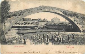 Italy Savona Ponte Romano Bridge Train very animated 1903 postcard