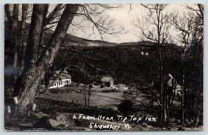 Shrewsbury Vermont~Farm near Tip Top Inn~House & Barn~Buckets on Tree~1946 RPPC
