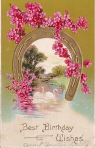 Birthday Wishes Horseshoe Red Flowers and White Swans 1910