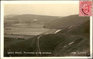 sussex, POYNINGS, Dyke Hills, Panorama (1909) RPPC
