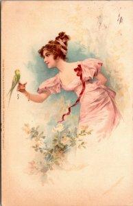 Art Deco - Beautiful Victorian Woman w/ Birds - Vintage - Posted - Postcard