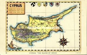 Cyprus, The Island of Venus, MAP Postcard (1959) Raphael Tuck