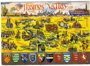 Postcard Illustrated Map THAMES VALLEY Lilywhite