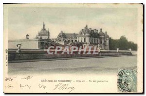 Old Postcard Chateau de Chantilly Cote is Seen flowerbeds