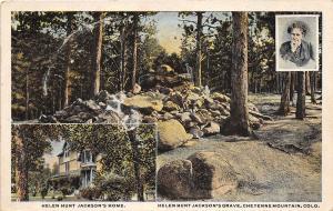 D40/ Cheyenne Mountain Colorado Co Postcard 1924 2View Helen Hunt Jackson Grave