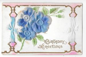 Birthday Greetings Air Brushed Silk Flowers Vntage Postcard