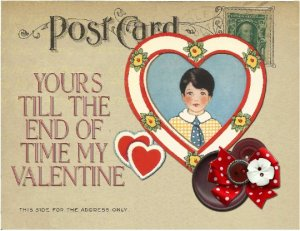 Single (1) Valentine's Day Card, Little Boy in Heart Postcard, Romance