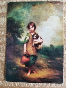 COTTAGE GIRL WITH DOG AND PITCHER BY GAINSBOROUGH.VTG POSTCARD*P11